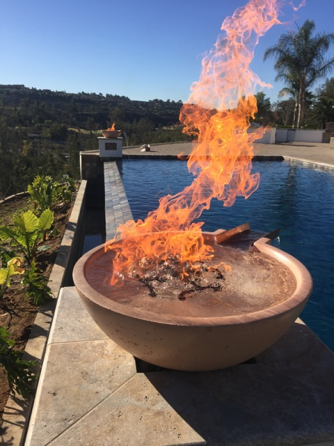 Fire and water bowls ramos pools for Pool fire bowls